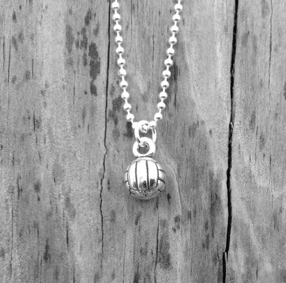 Volley Ball Necklace Sterling Silver by GirlBurkeStudios on Etsy, $27.00