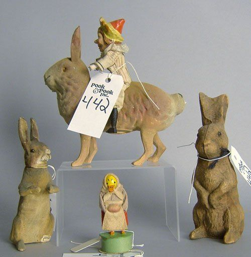 Antique paper mache rabbit form candy containers for Easter.