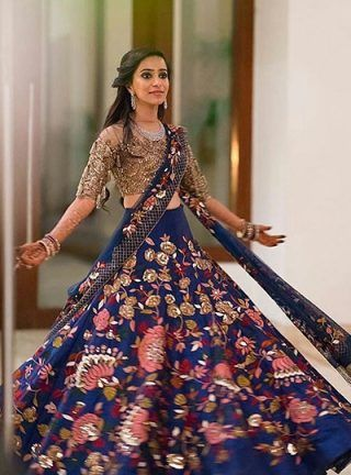 3be93a682dc Manish Malhotra Bridal Collection - Royal Blue Skirt And Gold Illusion Top