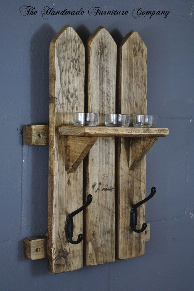 Handmade Rustic Pine Picket Fence Style Wooden Coat Hook Rack and Shelf