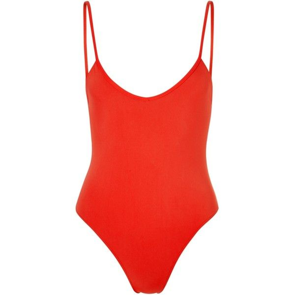 Bower Massai Hutton Swimsuit (300 CAD) ❤ liked on Polyvore featuring swimwear, one-piece swimsuits, swimsuits, bodysuits, red, swim, slimming bathing suits, red one piece swimsuit, red swimsuit and red swim suit
