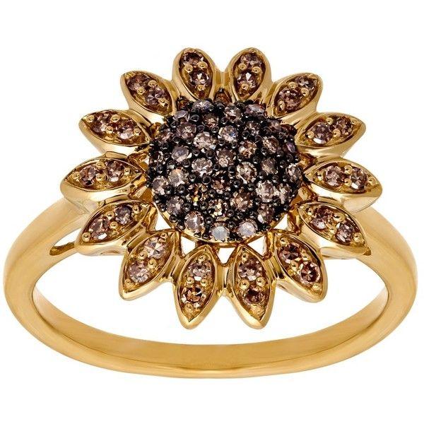 1/3 ct Champagne Diamond Sunflower Ring (5.297.525 IDR) ❤ liked on Polyvore featuring jewelry, rings, flower rings, sunflower jewelry, 14 karat ring, flower jewellery and diamond rings