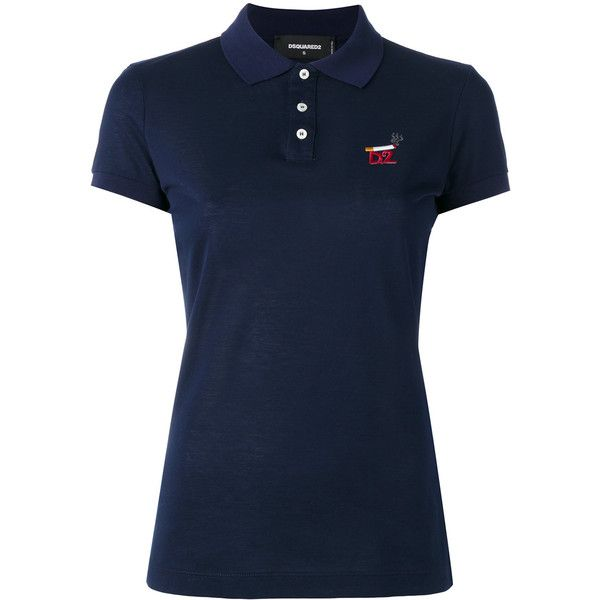 Dsquared2 cigarette logo polo shirt (4,380 MXN) ❤ liked on Polyvore featuring tops, blue, polo tops, blue short sleeve top, blue top, polo collar shirts and embroidered polo shirts