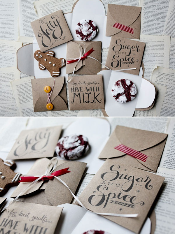 Print and cut this design, for perfect holiday cookie wrapping!!! DIY - Cookie Envelope Template (3 Designs) - Free PDF Printable