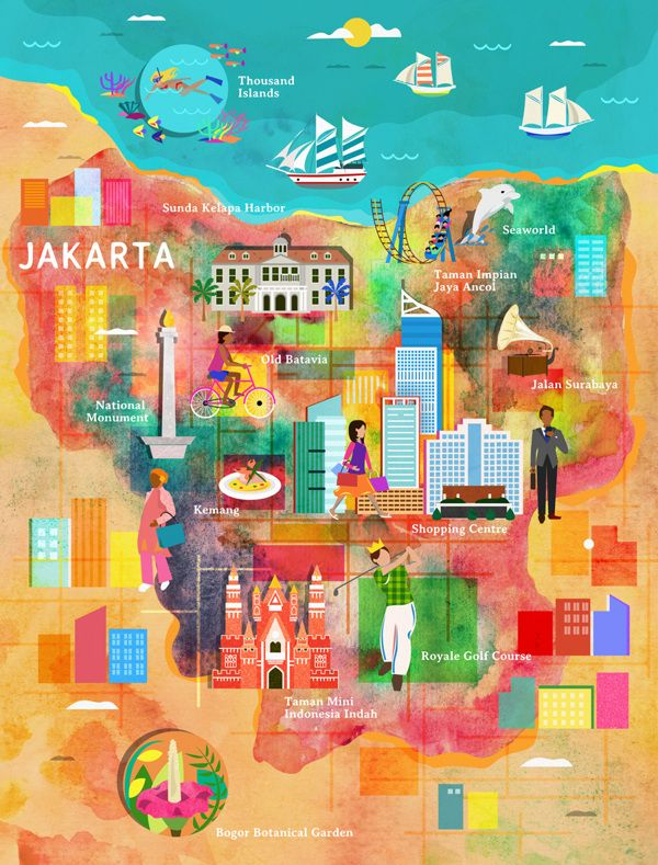 Jakarta map for Garuda Indonesia by Kitkat Pecson, via Behance