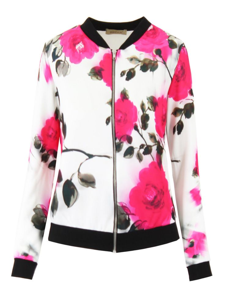 New Womens Ladies Floral Bomber Zip Up Jacket Stretch Long Sleeve Print Flower | eBay