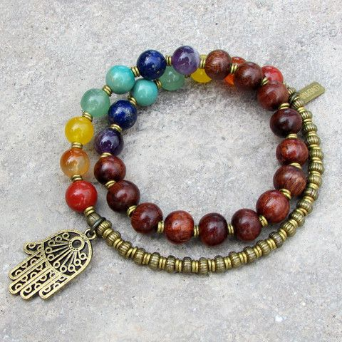chakra, genuine gemstones and wood 27 bead mala wrap chakra bracelet