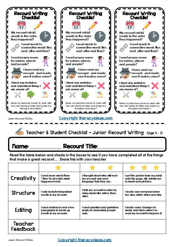junior recount checklist recount recount writing writing checklist teaching critical thinking. Black Bedroom Furniture Sets. Home Design Ideas