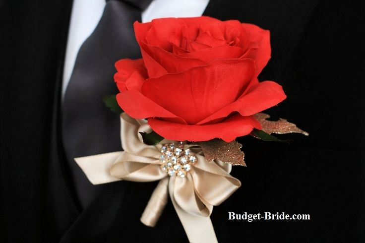 Wedding Flower Boutonniere, ceremony flowers for men, grooms flowers red and gold
