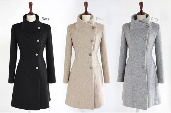 Gray  Wool Jacket women coat winter jacket Autumn Winter