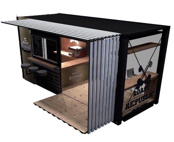 render cafetería contenedor Johannesburgo