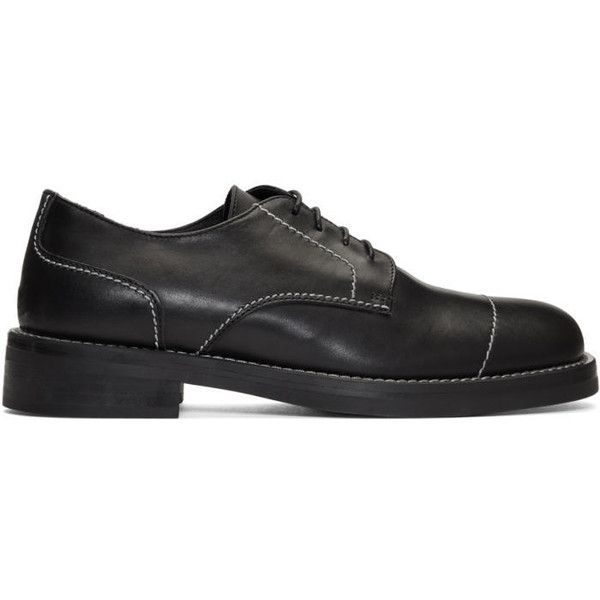 Neil Barrett Black Stitching Derbys (2,620 CNY) ❤ liked on Polyvore featuring men's fashion, men's shoes, men's oxfords, black, mens derby shoes, mens lace up shoes, mens black lace up shoes, mens round toe shoes and mens black shoes