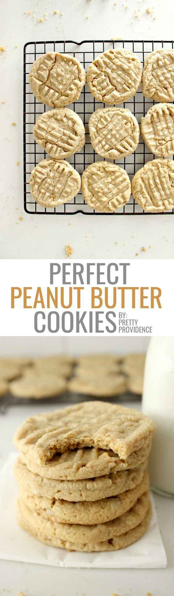 Literally THE BEST peanut butter cookies you will ever taste! You probably have everything you need to make them in your pantry, they are super easy, and the recipe yields a ton!: