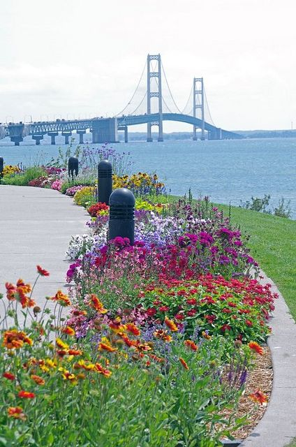 View of Mackinac Bridge from Mackinaw City / Michigan