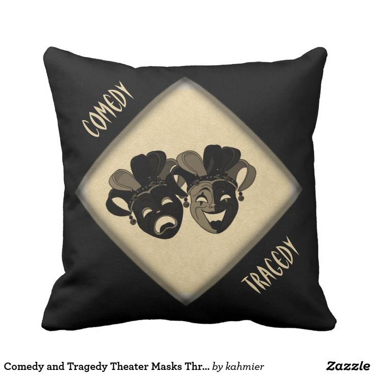 Comedy and Tragedy Theater Masks Throw Pillow www.leatherwooddesign.com