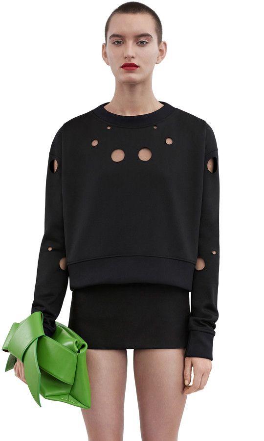 Acne Studios Baylee cut black Laser cut sweatshirt