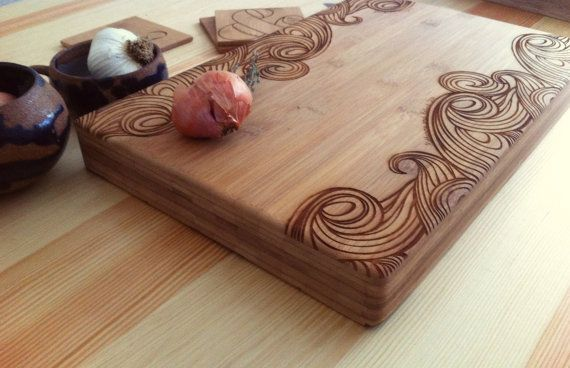 Custom Engraved Bamboo Cutting Board Wave Pattern by woodbemine on Etsy. The perfect wedding gift!