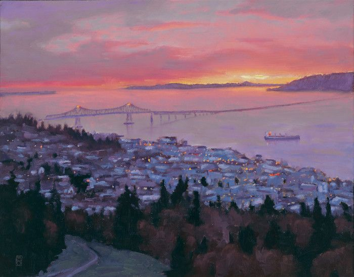 """View of Astoria. I'm starting to get some great feedback on the new website and prints I have available to custom order. www.orwickarts.com """"The painting came today and it looks great! I took It to my brother and he was delighted to see Astoria looking so amazing. Thanks so much for the gifts and for making your art available as reproductions. I will be ordering a treat for myself soon."""" you can get 20% off by using the code FIRST20"""