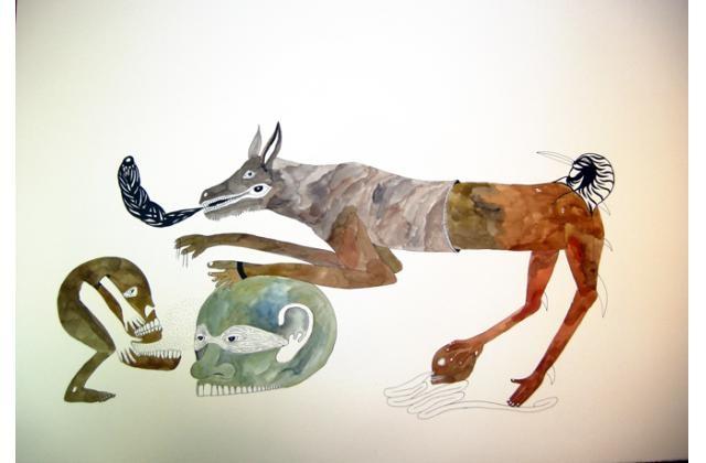 Erik Jerezano | Head Massage with Poem |Encre et aquarelle sur papier (ink and watercolour on paper) |2010