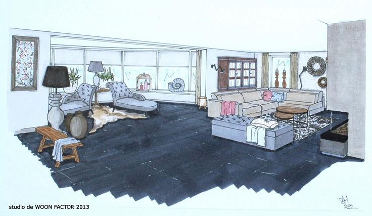 3D ontwerp tekening van het door studio de WOON FACTOR ontworpen interieurplan voor deze ruime woonkamer mer erker.
