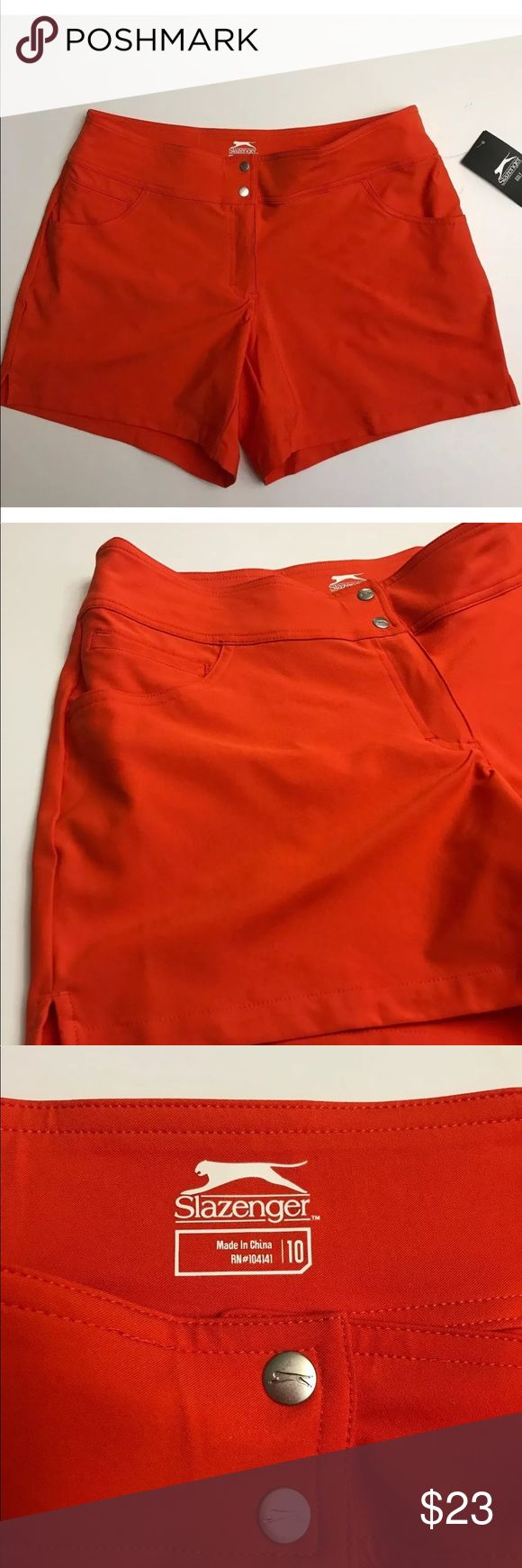 NEW Slazenger golf women's shorts running size 10 Slazenger Gold shorts Size 10 Brand new with tags! Zero flaws  18 inches waist un-stretched  See all photos and ask questions if needed 😁😁😁 Slazenger Shorts