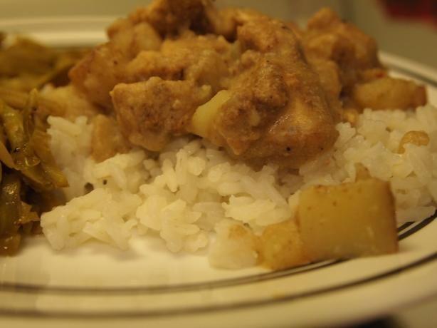 Samoan chicken curry  Recipe:http://www.food.com/recipe/samoan-chicken-kale-moa-457749