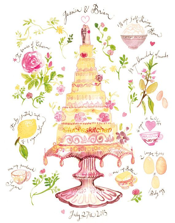 Custom Wedding Cake Recipe Watercolor Painting Print, Personalized Wedding Art Gift, Home decor.