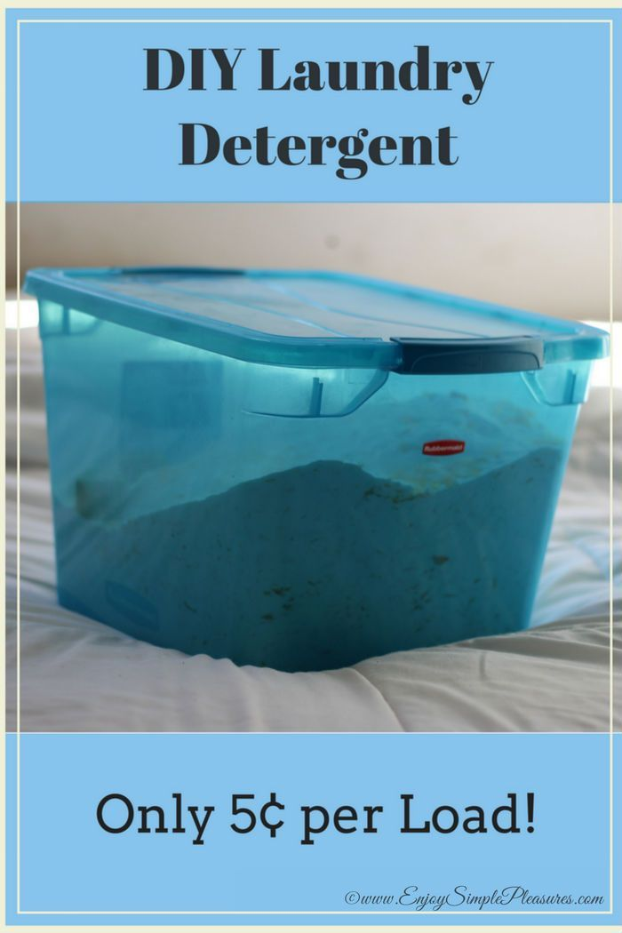 Save time and money with this super easy DIY laundry detergent recipe. 5 simple ingredients and 2 easy steps, the total cost is only 5¢ – 9¢ per load!!