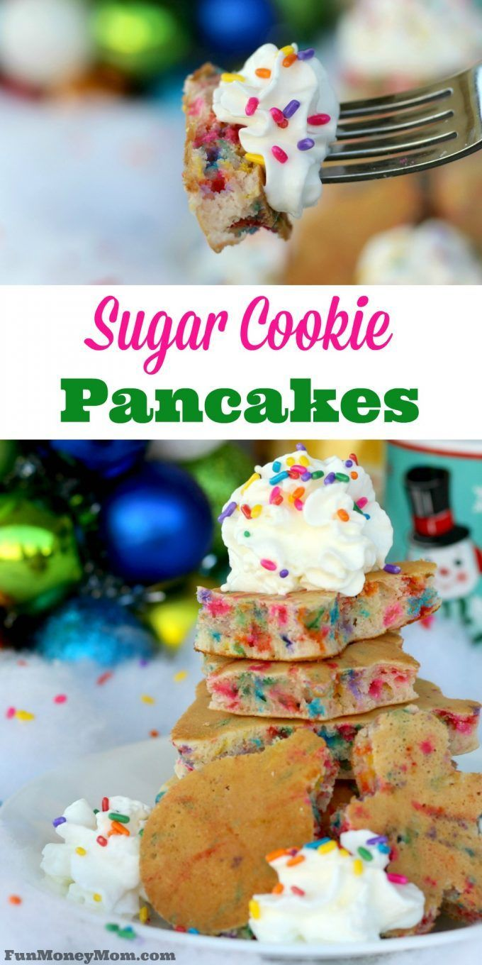 Your kids are going to love it when you surprise them on Christmas morning with these Sugar Cookie Pancakes! #ad @walmart  #DelightfulMoments
