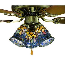 Meyda Tiffany 1-Light Mahogany Bronze Ceiling Fan Light Kit with Stained Glass for the living room