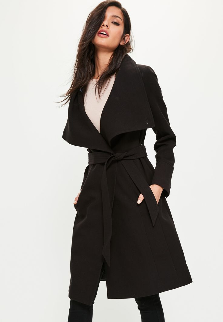 Go for this black waterfall coat with funnel neck and belt - and all eyes will be on you!
