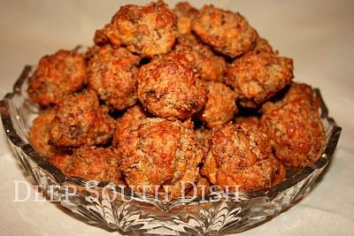 Classic old fashioned sausage cheese balls make with baking mix, breakfast sausage & cheese.