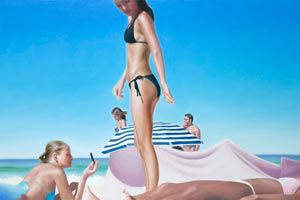 """Kasia Domanska """"Endless Summer"""" @ Gallery 532 Thomas Jaeckel, NYC – view more (summery) images @ http://www.juxtapoz.com/Current/kasia-domanska-qendless-summerq-gallery-thomas-jaeckel-nyc – #onourradar #endlesssummer #gallery532: Figures Art, Polish Painters, Oil On Canvas, Beach Painting, Endlesssumm Gallery532, Fine Art, Kasia Domanska, 532 Thomas, Artists Kasia"""