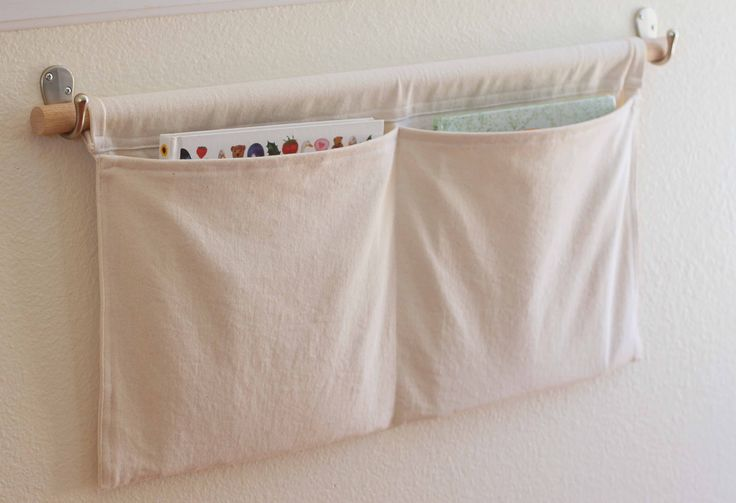 DIY: wall pockets. I might try old linens to make these. I'm thinking- make a couple and hang them off a second rod in your closet- either on top to cover your shelf 'junk' or towards the bottom back wall for extra storage...?