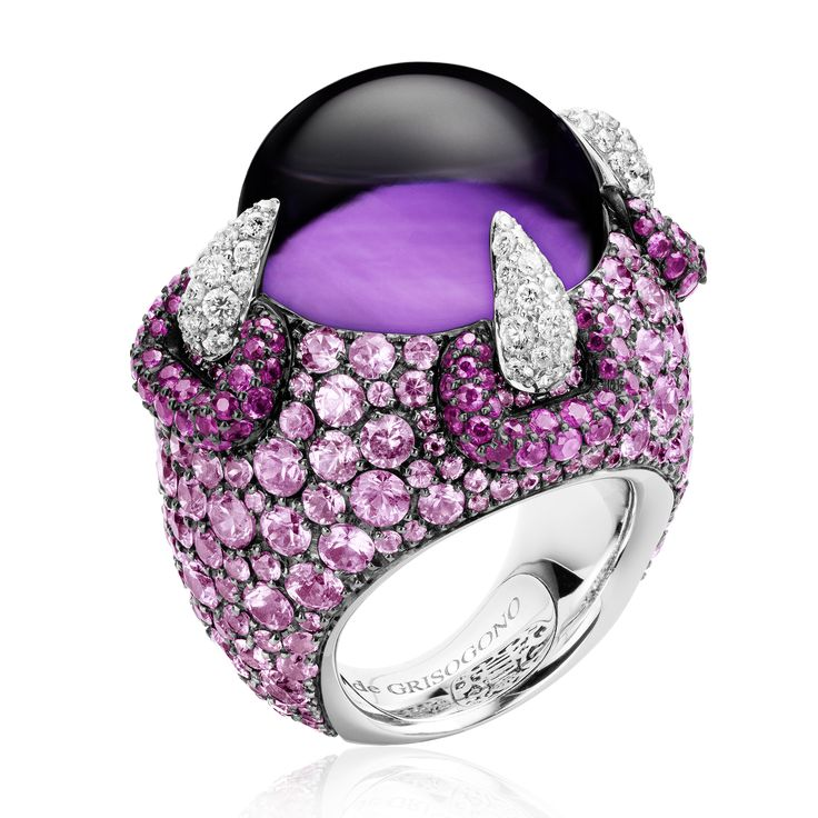 MELODY OF COLOURS COLLECTION by De Grisogono, White gold - 1 amethyst cabochon - 72 white diamonds - 370 pink sapphires.
