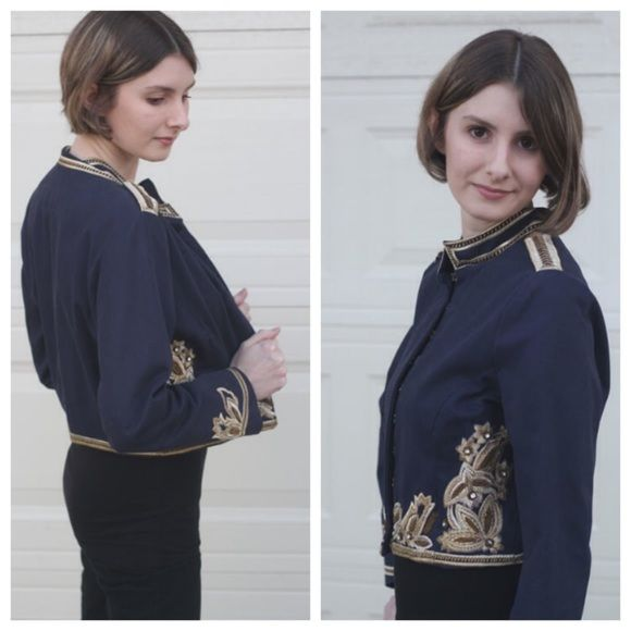 Embroidered Military Jacket Navy blue military jacket. Ten large hook and eye closure. Steampunk style. Embroidered with rhinestones. A couple embroidery stitches are loose, but it was like that when I bought it. Not really noticeable when wearing. Only worn a couple times.  All items come from a smoke-free, pet friendly home. No trades, no PayPal please. Any questions, comment below and I will answer to the best of my knowledge. Happy Poshing! Authentic Icon Jackets & Coats