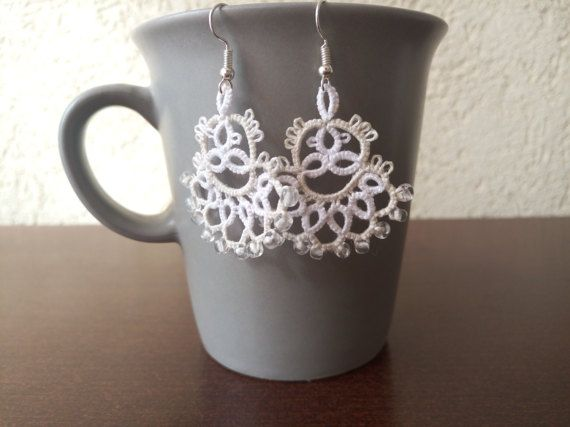 White and Light Beige Tatted Lace Earrings White by EstaTatting