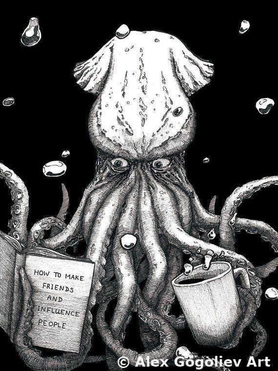 Creepy Octopus Print, Funny Octopus Art Print, Kraken Art