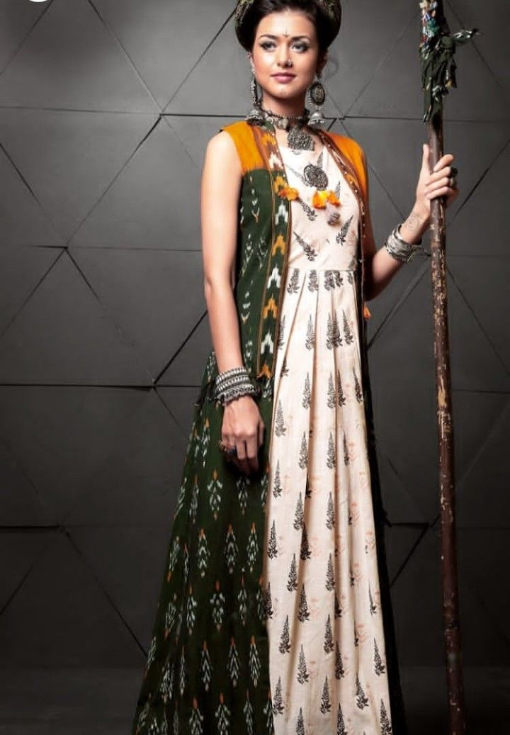 Beautiful floor lenght Printed Cotton Kurti with full length jacket and superb detailing.
