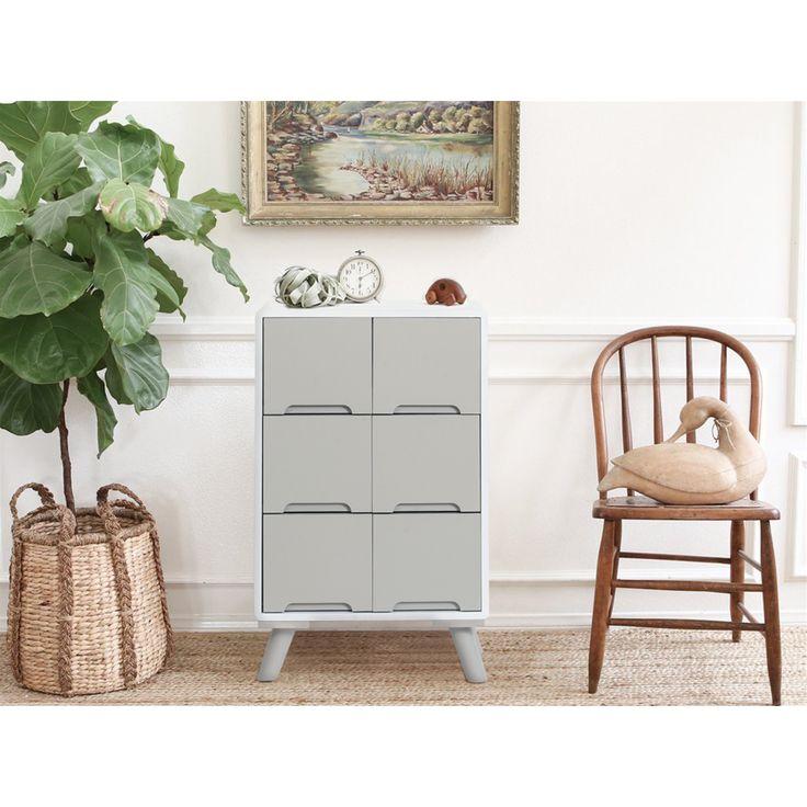 Retro Design White/Grey Chest of Drawers Dresser Storage Unit Vintage Bedroom