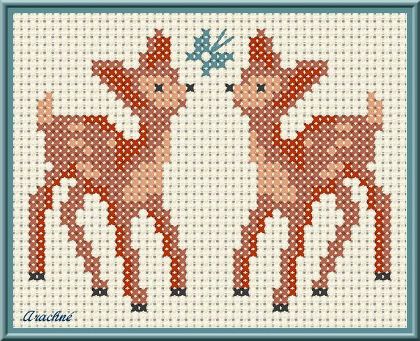 free woodland deer cross stitch chart