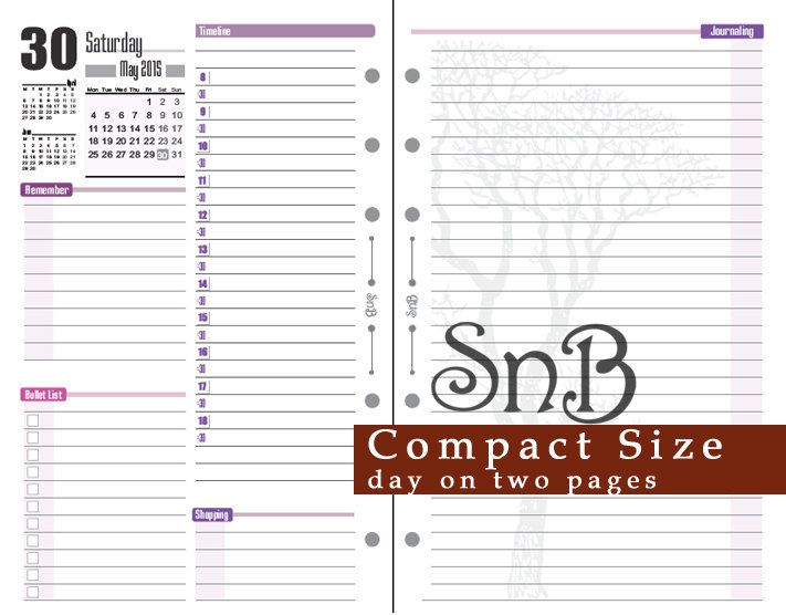 SnB Compact - Day on 2 pages - Violet Version - 2015 - Printable Daily planner for Franklin Covey binders by MarsiaBramucci on Etsy