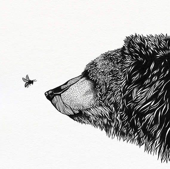 Bear & Beeart print  12 x 12 unframed  animal