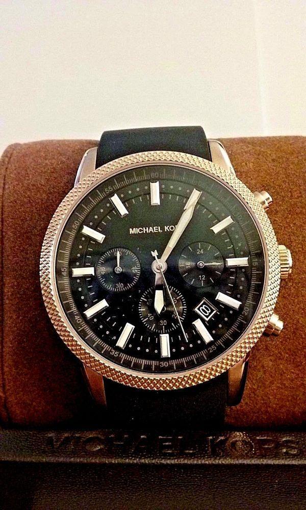 120f54c8ddae MICHAEL KORS Scout Rose Gold tone  silicone strap Unisex Chrono Watch MK8244