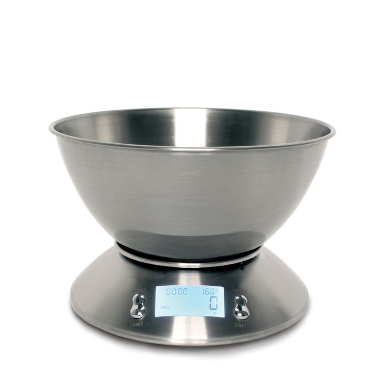 Stainless Steel Digital Bowl Scales  Stylishly modern, our Digital Bowl Scale team's sleek good looks with up-to-the-minute technology to deliver a piece of equipment that would make any kitchen proud.  With all the normal features you'd expect such as the super handy add & weigh function you can weigh several ingredients in the same bowl, it also has an LCD display, high precision sensor, alarm timer & thermometer.  The bowl has a 2.5ltr capacity and is dishwasher safe, once clean it…
