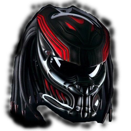 FREE SHIPPING COOL RED PREDATOR HELMET FOR BIKER DOT  AVAILABLE SIZE S, M, L, XL