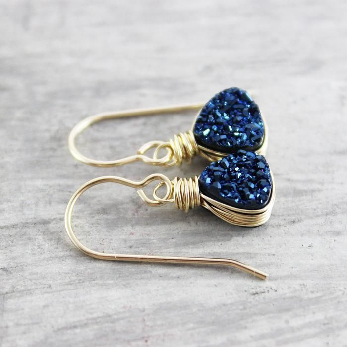 Dark Blue Druzy Gold Trillion Earrings | Earrings | Jewelry | #earrings #jewelry #handmadejewelry | www.starlettadesigns.com