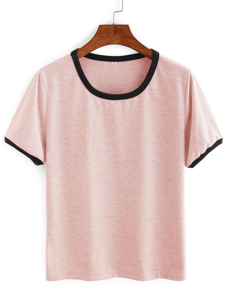 #AdoreWe #ROMWE T-shirts - Designer ROMWE Pink Contrast Round Neck T-shirt - AdoreWe.com