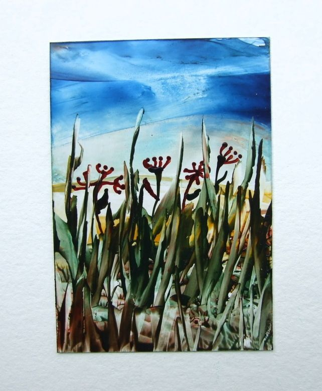 ACEO - Encaustic Art -  Grasses at Sunrise £1.95