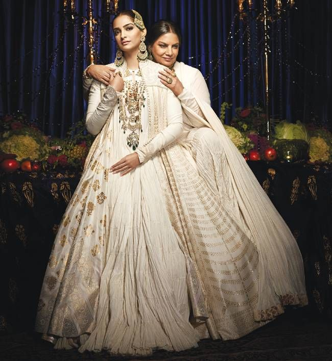 Sonam Kapoor and Shabana Azmi in Rohit Bal's creations for his silver jubilee celebration in Bazaar Bride. #Bollywood #Fashion #Style #Beauty #Hot #Sexy #Ethnic